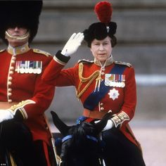 On horseback:  Queen Elizabeth II taking the salute of the Household Guards regiments duri...