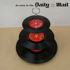As recently featured in the Daily Mail Saturday Weekend magazine on the 3rd September. Why not display your cakes and fancies on these wonderful cake stands. Perfect for the music fan.