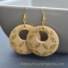 Glitter Stenciled Earrings - Happy Hour Projects