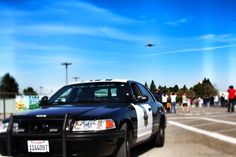 MVPD Patrol vehicle with the Space Shuttle Endeavour on it's final flyover at Moffett Field, Mountain View, CA