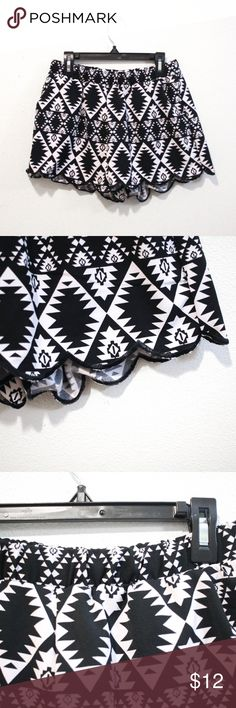 scallop black and white tribal print summer shorts scallop black and white tribal print summer shorts size medium from Mine // black and white tribal Aztec print summer shorts, scalloped edge. elastic waist // has pockets mine Shorts
