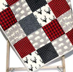 Buffalo Plaid Quilt, Woodland Boy Lumberjack Plaid Check Nursery, Deer Buck Baby Blanket, Boy Bedding