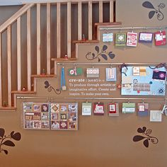 This is my friend's basement where she scrapbooks and creates beautiful cards.  Karen Clark is a Stampin' Up! Demonstrator and one of my cleaning clients.  I love her work and this wall is to die for, so cute and fun for displaying artwork and creations.