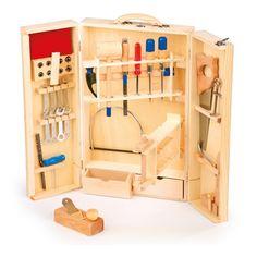 Caja de herramientas profesional plegable de juguete #madera #padres #niños