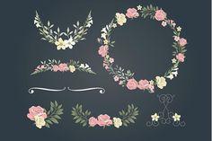 Vintage Rose wedding set - Illustrations