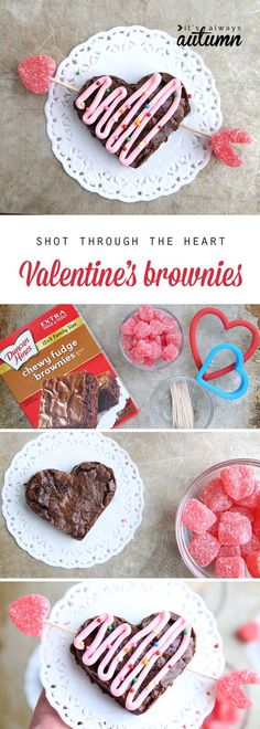 Such a cute Valentine's Day treat! Shot through the heart brownies. Easy Valentine recipe to make with your kids. How to make heart shaped brownies for Valentine's Day. Easy Valentines treat to make with kids. Valentine Desserts, Valentines Day Food, Valentines Treats Easy, Valentine Day Crafts, Holiday Treats, Easy Desserts, Holiday Recipes, Valentines Recipes, Valentine Party