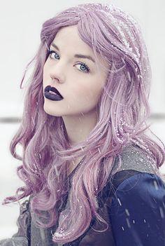 Lavender hair & dark lips. Copy it: Manic Panic lipstick in Raven and hair dye in Mystic Heather. http://www.manicpanic.biz/store/p/306-Raven-Lipstick.aspx