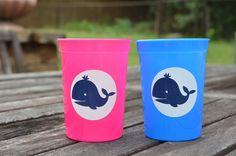 10 pink or blue preppy whale 12 oz kids cups by ihaveafavor, $15.00  http://www.etsy.com/shop/ihaveafavor?ref=si_shop