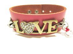Leather Cuff Love Charm Bracelet Pink Leather Bracelet Word