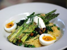 AOC Restaurant [Los Angeles] - grilled asparagus with polenta: served with early spring vegetables and soft egg ($15)