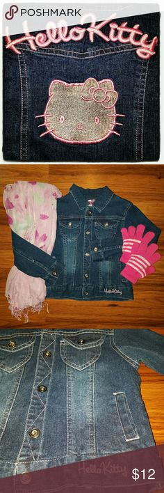 """PRETTY Hello Kitty Size 5 Jean Jacket Sanrio This PRETTY Hello Kitty Size 5 Jean Jacket will look amazing on your little princess! Make her feel cute and stylish all at the same time! I especially love the AMAZING EMBROIDERY on the back! A definite WIN WIN for mom &/or dad! xoxo  *** INFORMATION *** *Size: 5 *Material: 98% Cotton 2% Spandex *RN: 116180 *Cut#: HT 19434 *Style: D1552H6207  *** APPROXIMATE MEASUREMENTS *** *Shoulder to End of Sleeve: 16""""  *Shoulder to Bottom: 13 1/2"""" *Armpit to…"""