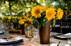 sunflower wedding centerpiece floral arrangement