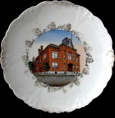 Plate Hand Colored Transferware Souvenir School by RuthsBargains