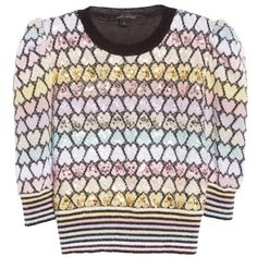 Women's Marc Jacobs Heart Knit Mohair Blend Sweater ($1,500) ❤ liked on Polyvore featuring tops, sweaters, sequin heart sweater, sequin sweater, marc jacobs top, heart tops and sequin top