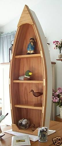 4 Foot Unfinished Row Boat Shelf Bookcase Bookshelf Hand Crafted Canoe Nautical