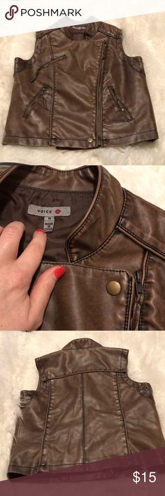 Voice size medium faux leather vest Voice size medium faux leather vest with buttons and zippers in good used condition. Runs small in my opinion. Measurements, material and size tags are posted. Has buttons and functioning zippers. Bundle to save or make an offer! Voice Jackets & Coats Vests