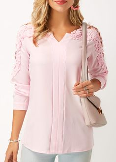 Modlily Women's Long Sleeve Lace Panel Pink Fashion Going Out Top Lace Panel Long Sleeve Pink Blouse Stylish Tops For Girls, Trendy Tops For Women, Blouses For Women, Ladies Blouses, Women's Blouses, Looks Cool, Ladies Dress Design, Pink Tops, Blouse Designs