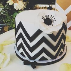 11-11-12 Palm Springs Wedding | Bridal Shower Chevron & Anemone Cake | https://www.facebook.com/pages/Cake-4-Six/117762628300298 #Modern #Cakes #Wedding    Photo by @ tina