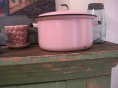 Vintage PINK Enamel Ware Covered Cooking by TrueNorthInteriorDes, $45.00