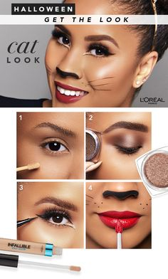 Infallible 24 HR waterproof eyeshadow by L'Oréal Paris. Powder-cream eyeshadow glides on effortlessly & lasts 24 hours for an intense, luminous color. Cat Halloween Makeup, Halloween Looks, Scary Halloween, Halloween Costumes, Makeup Tips, Beauty Makeup, Makeup Ideas, Halloween Disfraces, L'oréal Paris