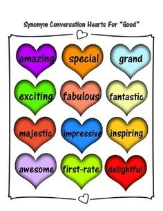 """FREE Synonym Conversation Hearts for """"GOOD"""" Printables"""