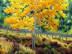 From Summer Into Fall  30x40 Original LARGE Oil Painting Impressionism Fall Autumn Aspens Birch trees. $750.00, via Etsy.