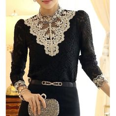 Long Sleeve Stand-Up Collar Rhinestones Embellished Women's Blouse $17.82