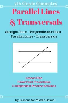 This lesson teaches students to find the measure of angles created by parallel lines and transversals through direct instruction, cooperative learning structures, and then various practice worksheets and activities. This unit aligns with the 7th Grade Common Core Math Standards and can also be taught as an extension for 6th Graders or as review for 8th Graders.