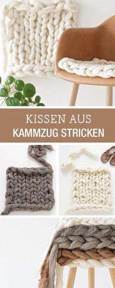 Strickanleitung: Kissen aus Kammzug stricken / diy knitting tutorial: use loose wool fibre to knit a cushion via DaWanda.com