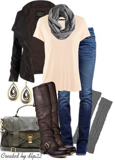 Black Sweater & Tall Buckle Boots.  Peach top.  Gray Scarf, leg warmers & purse.  Blue Jeans.
