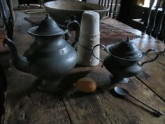 IMG_0745.JPG Early pewter teapot and sugar container Tattered N Torn Primitives