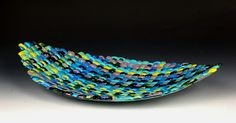 """Check out this awesome woven glass weaving from glassboxguy studios, artists mark lewanski and aaron tomac.  titled """"maliblue"""""""