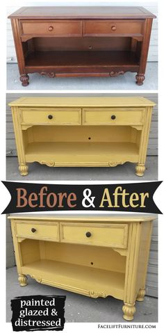 Media console painted, glazed and distressed in Yellow, with light Black Glaze accenting molding and ornate areas. Distressing reveals original wood tones. For more inspiration, visit our Furniture Before & After board on Pinterest. Related