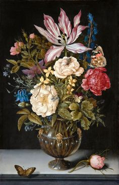 Ambrosius Bosschaert The Elder (1573 -1621) — Still Life wiht Flovers,1617 : Hallwyl Museum, Stockholm. Sweden.