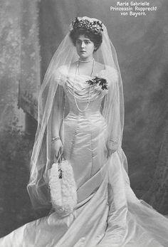 in 1900 married Prince Rupprecht of Bavaria & Duchess Marie-Gabrielle in Bavaria, her wedding portrait