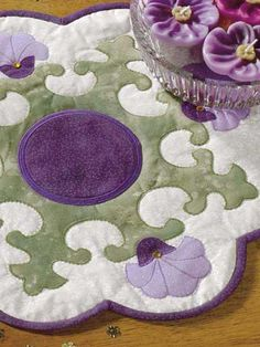 Quilting - Free Table Topper Quilt Patterns - Royal Purple Blossoms Quilted Candle Mat Pattern