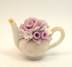 1/12TH scale  romantic shabby chic pink roses and polka by 64tnt