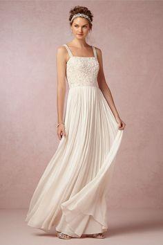 Beach Wedding Dresses: Glamour.com/ Ranna Gill Carolina Wedding Dress-$1,400-bhldn.com- Gorgeous!