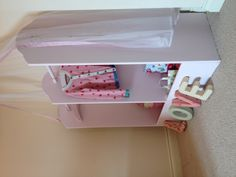 Beautiful little girls double clothes and dressing up storage rail. Pretty pink with floral hearts <3 perfect for sisters or twinnies x