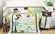 Baby Boy 8 pieces Safari Animal Cot Bedding Set by All 4 Kids