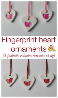 Fingerprint heart ornaments made with white clay, the perfect valentine keepsake made by kids from Mum in the Mad House