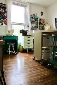 Remember when I moved last year and promised I'd share photos of my new sewing room? Well, we're almost a year overdue – but I'm finally making good on that promise! My Sewing Room, Sewing Rooms, Share Photos, Quilting Room, Made Goods, Filing Cabinet, Studio, Storage, Bed