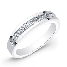 This 14KT white gold wedding band features 10 channel-set princess cut diamonds.