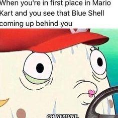 Spongebob x Mario Kart meme Funny Pins, Funny Memes, Funny Stuff, Geeks, Nintendo Game, Lol, Spongebob Memes, Donald Trump, Gaming Memes