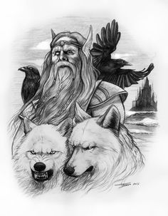 Odín por TeresaRa - Fantasía | Dibujando.net Rune Tattoo, Norse Tattoo, Viking Tattoos, Art Viking, Viking Warrior, Fantasy Paintings, Fantasy Art, Thor, Odin Allfather