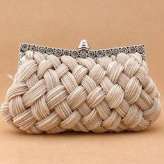 I love the look of this woven clutch. It would be perfect for a bride on her wedding day--especially for a classic romantic wedding. - Pleated and Braided Satin Rhinestone Studded Wedding Evening Bridal Clutch Purse - Fashion Bags, Fashion Accessories, Wedding Accessories, Tokyo Fashion, Street Fashion, Girl Fashion, Bridesmaid Clutches, Beautiful Bags, Clutch Purse