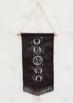 Moon phases wall banner, celestial, pennant banner, witch decor, embroidery, witchcraft, tapestry, wall hanging decor , moon and stars Witch Decor, Pagan Decor, Pagan Altar, Dorm Door Decorations, Apartment Wall Art, Witch Room, Moon Decor, Wall Banner, Diy Curtains