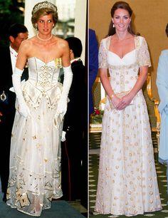 Los vestidos no son los mismos pero coinciden en los colores, blanco y dorado, y en que los dos son estampados. Kate debió tirar de hemeroteca para homenajear a Diana.