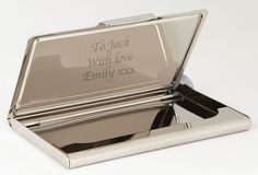 This Whitehill silver - plated Business Card Case can be personalised over 4 lines of up to 19 characters per line
