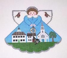 *NEW*  Connecticut Town Green Angel & Charms handpainted Canvas by Painted…
